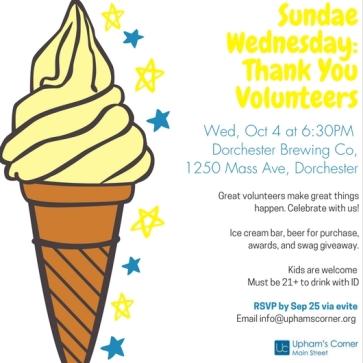 Sundae Wednesday- Thank You Volunteers